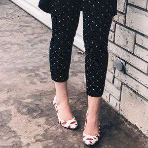 patterned white heels